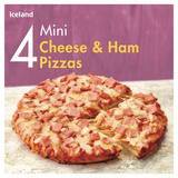 Iceland 4 Mini Cheese & Ham Pizzas 356g
