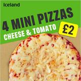 Iceland 4 Mini Pizzas – Cheese and Tomato 356g