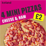 Iceland 4 Mini Pizzas Cheese and Ham 356g