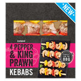Iceland 4 Pepper and King Prawn Kebabs 264g