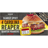 Iceland 4 Scarily Spicy Carolina Reaper Quarter Pounders 454g