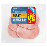 Iceland 4 Slices Thick Cut Roast Gammon Ham 100g