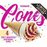 Iceland 4 Soft Whipped Birthday Cake Cones 296g