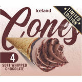 Iceland 4 Soft Whipped Chocolate Cones 292g