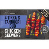 Iceland 4 Tikka & Tandoori Duo Chicken Skewers 440g