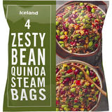 Iceland 4 Zesty Bean Quinoa Steam Bags 500g