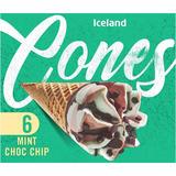 Iceland 6 Mint Choc Chip Cones 372g