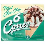 Iceland 6 Mint Choc Chip Cones 660ml