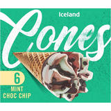 Iceland 6 Mint Choc Chip Cones   372g