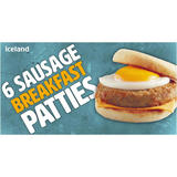 Iceland 6 Sausage Breakfast Patties 342g