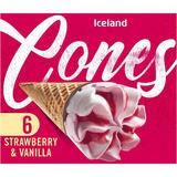 Iceland 6 Strawberry and Vanilla Cones 372g