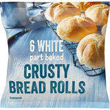 Iceland 6 White Part Baked Crusty Bread Rolls 300g