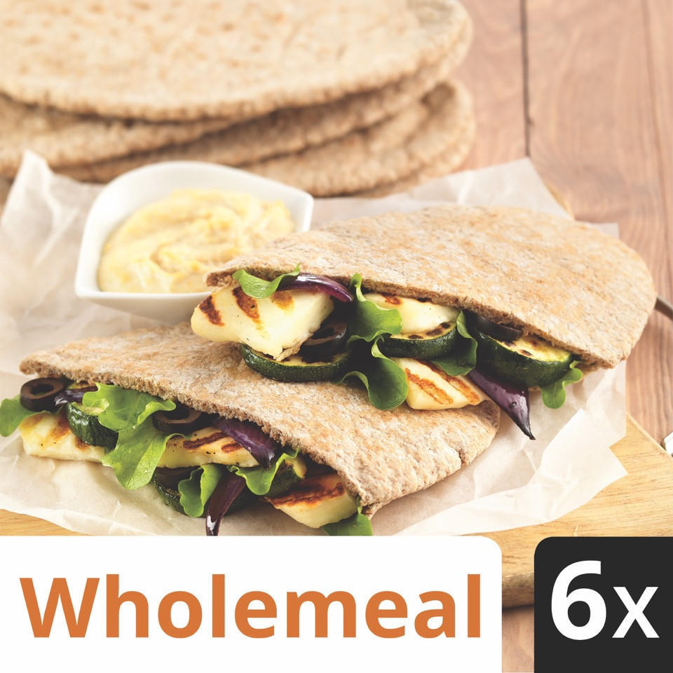 Iceland 6 Wholemeal Pitta Breads Wraps Bagels Pittas