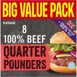 Iceland 8 100% Beef Quarter Pounders 908g