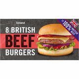 Iceland 8 100% British Beef Burgers 454g