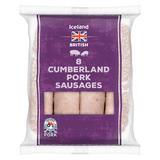 Iceland 8 British Cumberland Pork Sausages 454g