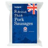 Iceland 8 British Thick Pork Sausages 454g