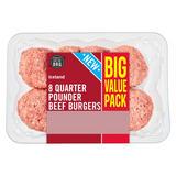 Iceland 8 Quarter Pounder Beef Burgers 908g