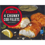 Iceland Battered 4 Chunky Cod Fillets 500g