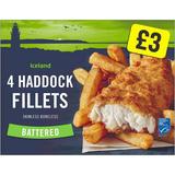 Iceland Battered 4 Haddock Skinless Boneless Fillets 500g