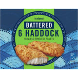 Iceland Battered 6 Haddock Skinless Boneless Fillets 750g