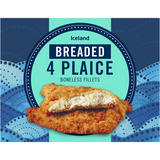 Iceland Breaded 4 Plaice Boneless Fillets 500g