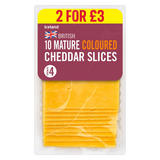 Iceland British 10 Mature Coloured Cheddar Cheese Slices 250g