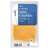 Iceland British 10 Mild Coloured Cheddar Cheese Slices 250g