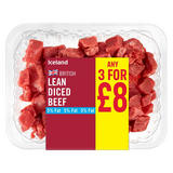 Iceland British Lean Diced Beef 340g