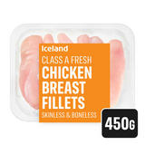 Iceland Class A Fresh Chicken Breast Fillets Skinless and Boneless 450g