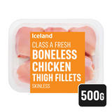 Iceland Class A Fresh Chicken Thigh Fillets Skinless and Boneless 500g