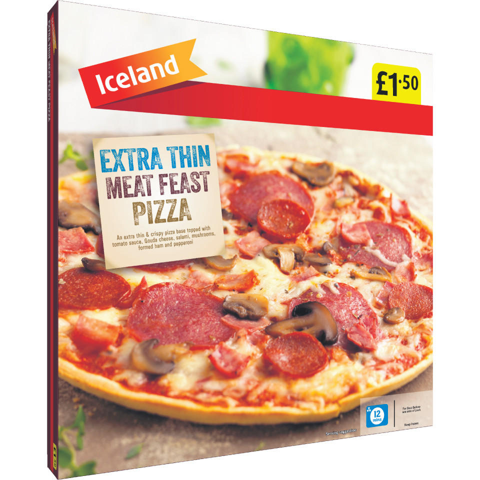 Iceland Extra Thin Meat Feast Pizza 330g Thin Crispy