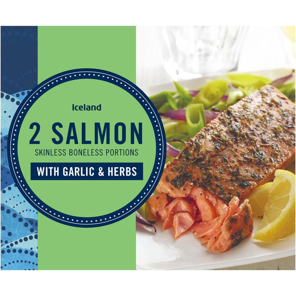 Iceland Garlic & Herb Salmon Portions 250g   Fish Fillets