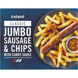 Iceland Jumbo Sausage and Chips with Curry Sauce 400g