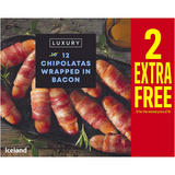Iceland Luxury 12 Chipolatas Wrapped in Bacon 324g