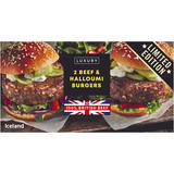 Iceland Luxury 2 Beef and Halloumi Burgers 284g