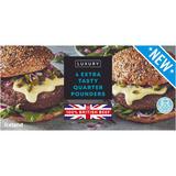 Iceland Luxury 4 100% British Extra Tasty Quarter Pounders 454g