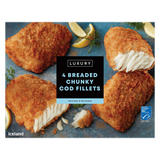 Iceland Luxury 4 Breaded Chunky Cod Fillets 500g