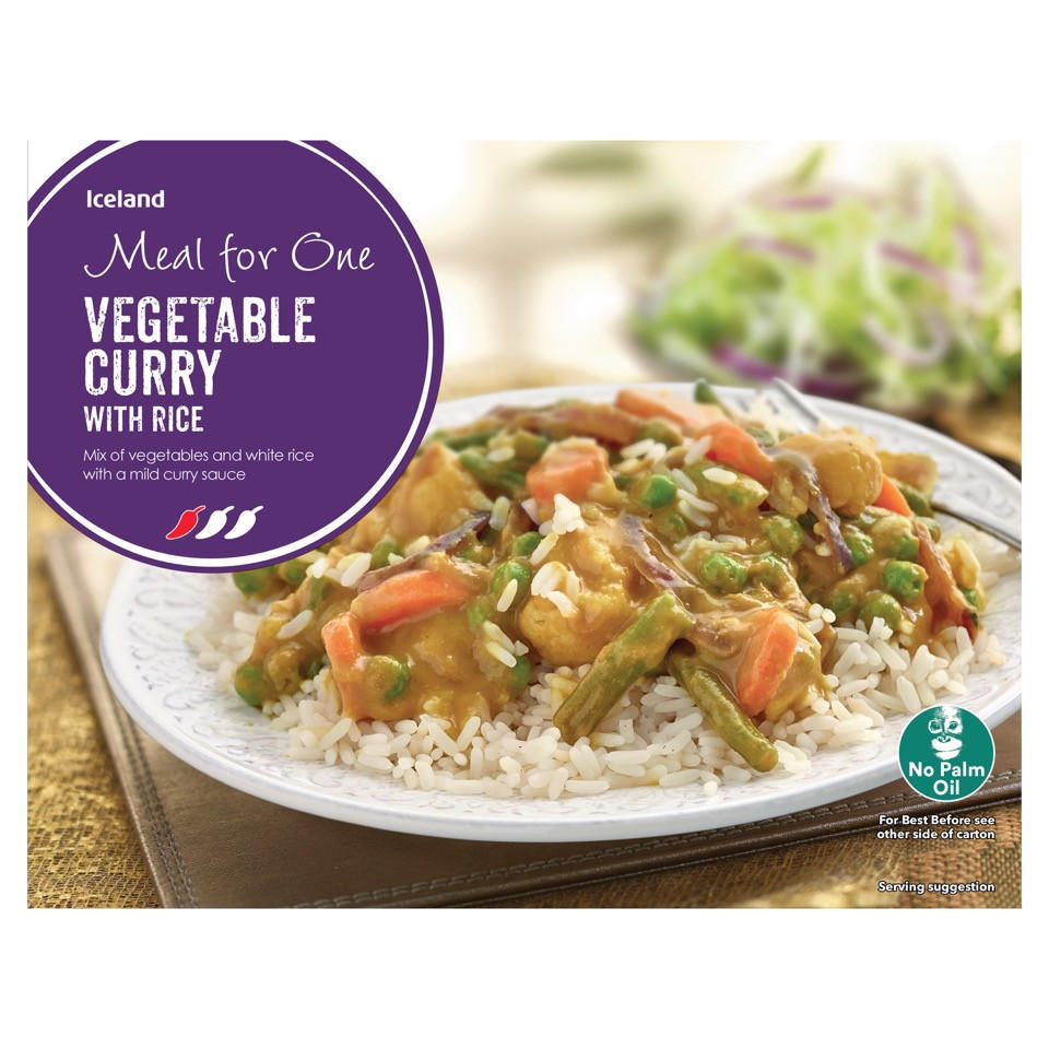 Iceland Meal For One Vegetable Curry With Rice 500g Indian