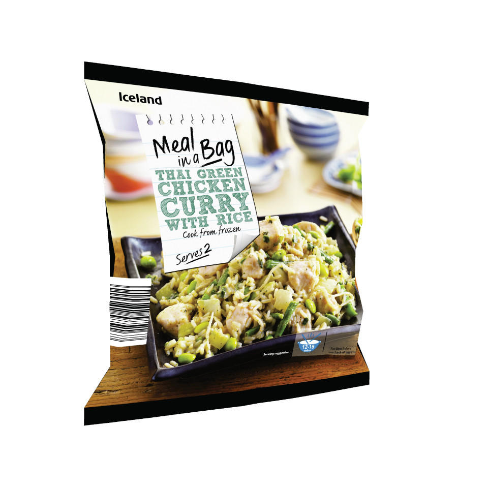 Iceland Meal In A Bag Thai Green Chicken Curry With Rice