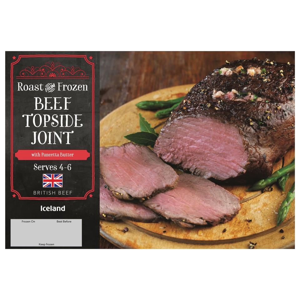 Iceland Roast From Frozen Beef Topside Joint with Pancetta Butter 840g | Beef