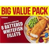 Iceland Skinless & Boneless 8 Battered Whitefish Fillets 800g