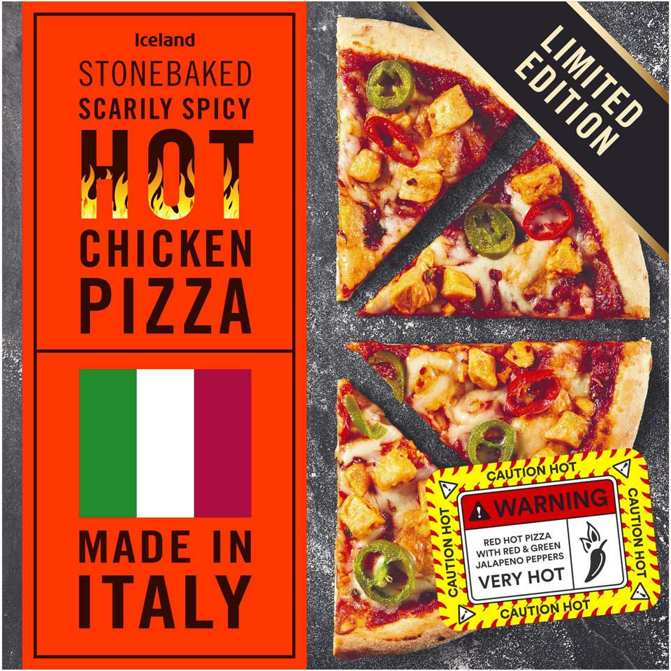 Iceland Stonebaked Scarily Spicy Hot Chicken Pizza 350g
