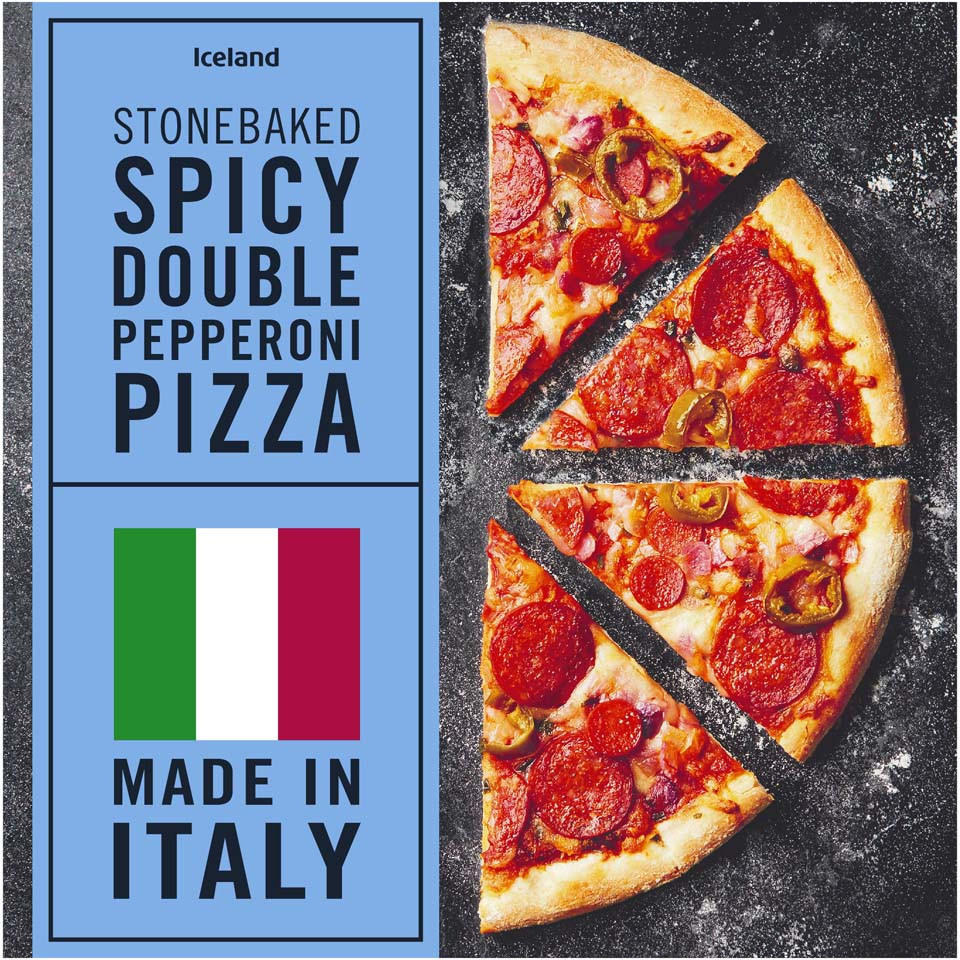 Iceland Stonebaked Spicy Double Pepperoni Pizza 370g | Thin