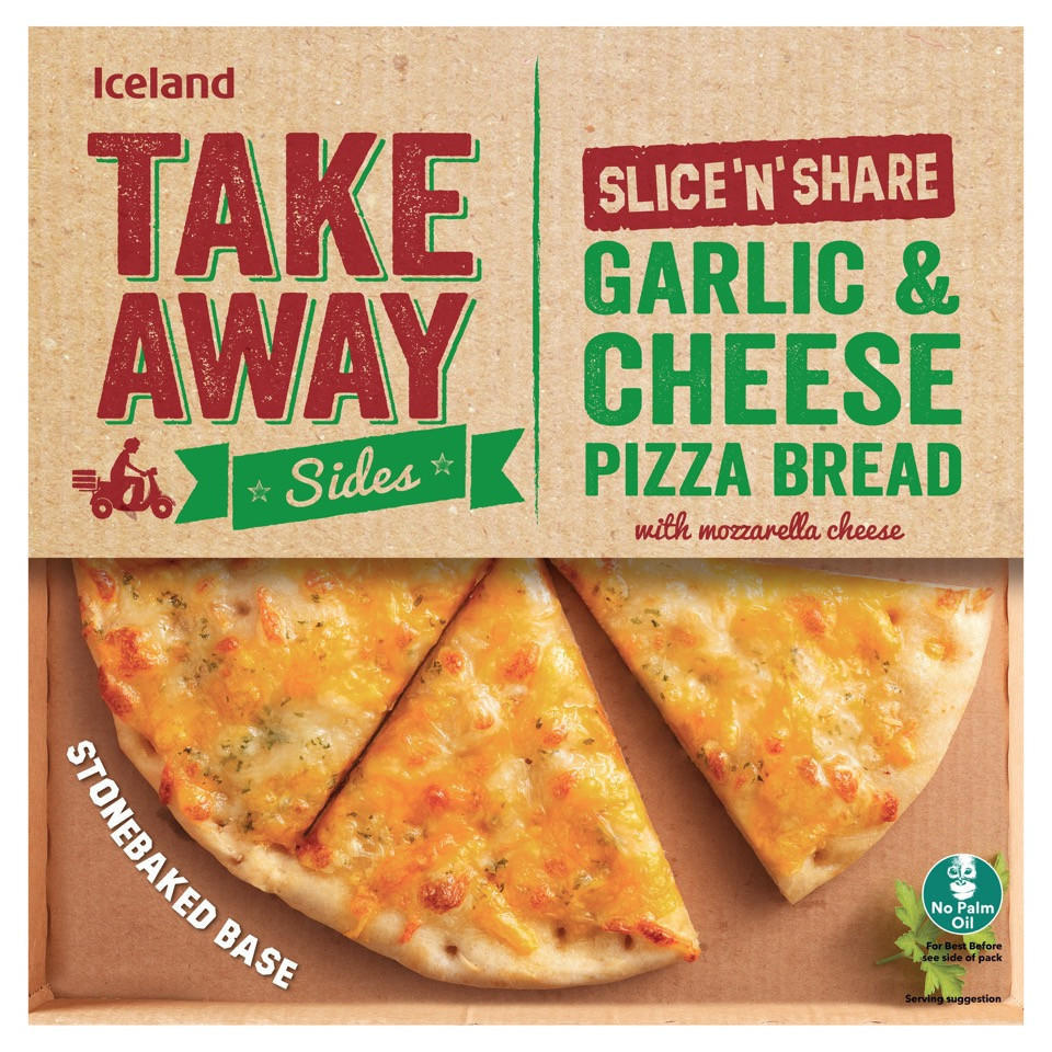 Iceland Takeaway Slice N Share Garlic Cheese Pizza Bread