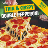 Iceland Thin & Crispy Double Pepperoni - Triple Pack 960g