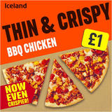 Iceland Thin and Crispy BBQ Chicken Pizza 350g