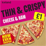 Iceland Thin and Crispy Cheese and Ham Pizza 342g