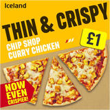 Iceland Thin and Crispy Chip Shop Curry Chicken Pizza 330g