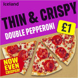 Iceland Thin and Crispy Double Pepperoni Pizza 334g